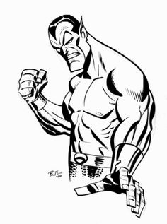 Namor The Sub-Mariner by Bruce Timm Bruce Timm, Marvel Comic Universe, Marvel Art, Aquaman, Cartoon Drawings, Cartoon Art, Dc Comics, Harley Quinn, Sub Mariner