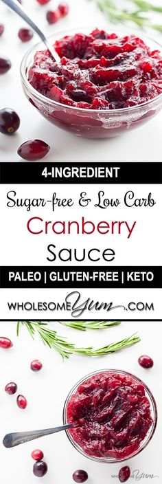 4-Ingredient Sugar-free, Low Carb Cranberry Sauce (Paleo, Gluten-free) - This healthy, sugar-free cranberry sauce recipe requires just 4 ingredients. Made with fresh cranberries and no sugar, it's also low carb, paleo, and gluten-free.