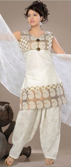 Off #White #Cotton Jacquard Readymade #A-Line Salwar #Suit @ $36.93