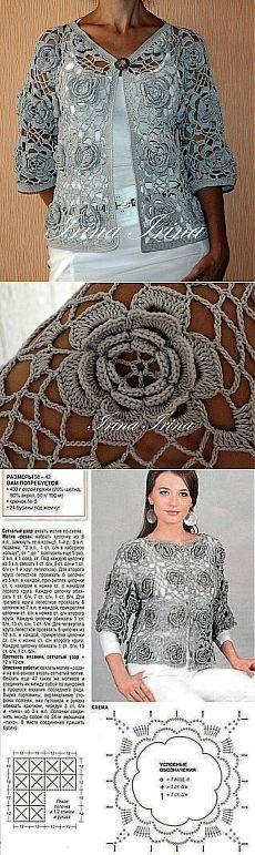 Ажурный жакет с цветочными мотивами.. [] #<br/> # #Irish #Crochet,<br/> # #Crochet #Tops,<br/> # #Crochet #Jacket,<br/> # #Posts,<br/> # #Knitting,<br/> # #Blusas #Tejidas,<br/> # #Winter,<br/> # #Ponchos,<br/> # #Boleros<br/>