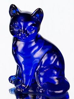 Carol, this is for you, for your blue cat collection: Image detail for -fenton art glass sitting cat in cobalt blue made in the usa fenton ...