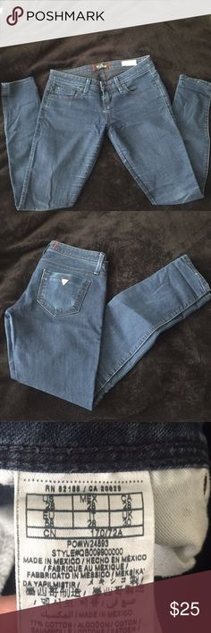 Guess jeans Guess jeans, low rise, so wear on the knees, butt and inner thigh. Good condition. Guess Jeans Skinny