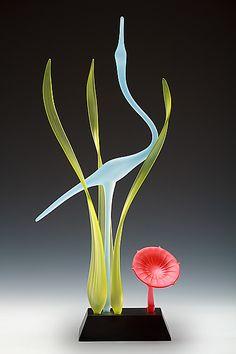 Lone Crane Sculpture With Flower: Warner Whitfield: Art Glass Sculpture - Artful Home