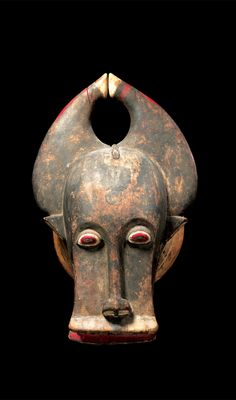Africa | Mask from the Baule people of the Ivory Coast | Wood and remains of paint