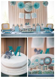 Baby boy baby shower - love the blue, white and grey accordion balls hanging above table.