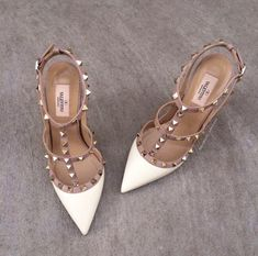 Earth Tone Rock Stud Heels Schicke Designer Rock Stud Buckle Strap Heels # valentino This. Dream Shoes, Crazy Shoes, Cute Shoes, Me Too Shoes, Trendy Shoes, Casual Shoes, Shoe Boots, Shoes Heels, Gold Shoes