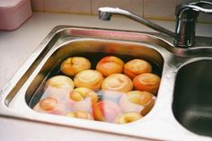 When buying fruit and veggies, always soak them in a 1:4 ratio of vinegar and water to help remove toxins and pesticides. Leave them soaking for up to an hour, longer with nonorganic apples. At the end of the bath, sometimes you can even see cloudy like stuff in the water from the skins and waxes, and dirt on the bottom.  Works awesome! Once I did this to blackberries and they were good for 3 WEEKS!  Thats unheard of with berries  water.  The vinegar is KEY :)