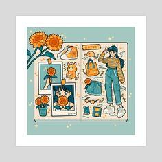 sunflower bullet journal, an art print by fresh_bobatae - INPRNT Arte Do Kawaii, Kawaii Art, Aesthetic Drawing, Aesthetic Art, Aesthetic Yellow, Arte Copic, Japon Illustration, Posca Art, Arte Sketchbook