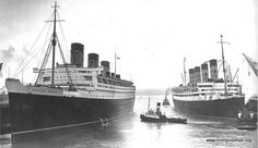 Mighty Steamers : Photo Queen Mary and Aquitania, 1936.