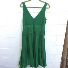 Tadashi Collection Bridesmaid Green Pleated Sleeveless Dress 100%Silk Plus Sz 16 #TadashiCollection