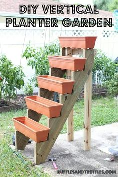 Use stairs and plastic window boxes to make a tiered planter. You can use underneath to keep plants in pots that need shade, so no wasted space. Or keep tools there out of sight.