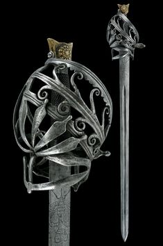 Ethnographic Arms & Armour - Schiavona with double head eagle engraved blade / late 17th c. Schiavona
