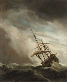 A Ship on the High Seas Caught by a Squall, Known as 'The Gust', Willem van de Velde (II), c. 1680 - Rijksmuseum