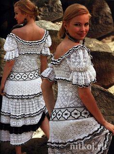 Бело-черное платье (вязание филейным узором)