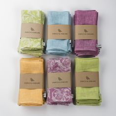 Pop colours! Bring more than just food and drink to the table – bring colour and personality. Our vibrant napkins are a special treat to be enjoyed with every meal – it's the little things that matter.  £69  Details 100% Irish Linen 42cm x 42cm Machine wash / dry gently–or line dry Designed, woven and handcrafted in Ireland