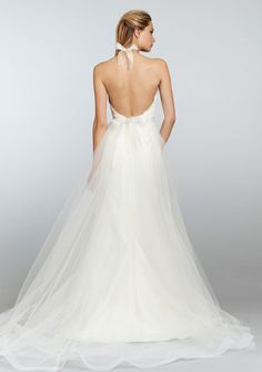 Ivory Mikado organza trumpet bridal gown with full tulle overlay, lace halter bodice over sweetheart neckline. Chapel train.