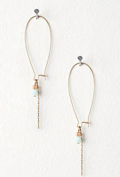 Subtle Light Blue Crystal and Gold Chain Earrings by DeuceFashion, $17.00