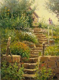 'Springtime in Europe - Garden Study' by G. Harvey