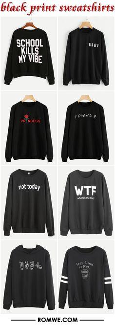 black print sweatshirts from romwe.com