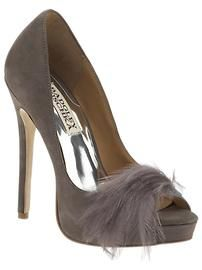 Badgley Mishka suede high heels with feather embellishments