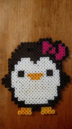 Cuddle Penguin with Bow Perler Beads Magnet