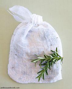 DIY bath tea bags and tub tea recipe.