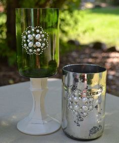 Candle Holders Made From Repurposed Cut Wine by SwankyChicDesigns, $14.00