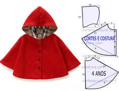 poncho capuche pour enfant (tutoriel gratuit – DIY poncho hoodie for children (free tutorial – DIY) - celebritiestutolibre - tutoriels - DIY gratuits - free DIY - tutorials - paso a paso - crafts- artesania - ремесел.Poncho per il bambinoMk coa Baby Dress Patterns, Kids Patterns, Doll Clothes Patterns, Clothing Patterns, Clothing Ideas, Barbie Clothes, Sewing Clothes, Diy Clothes, Sewing For Kids