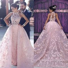 2018 Modest Wedding Dresses Pink Lace Flowers Dubai Bridal Gowns Sheer Neck Keyhole Back Custom Made Middle East Over Skirt Petite Prom Dress, Floral Prom Dresses, Muslim Wedding Dresses, Pink Wedding Dresses, Mermaid Dresses, Gown Wedding, Lace Wedding, Maternity Wedding, Wedding Table