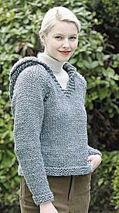 Free Knitting Pattern - Women's Sweaters: Country Classic Hooded Sweatshirt