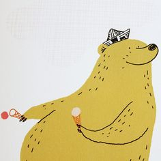Dominique le Bagousse - Atelier du Petit Parc Fun bear with ice cream and a newspaper hat Pattern Illustration, Children's Book Illustration, Character Illustration, Graphic Design Illustration, Digital Illustration, Ice Cream Illustration, Illustration Children, Simple Illustration, Watercolor Illustration