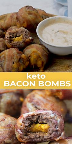Melty cheddar centers tender beef and crispy bacon! We love to dip these bacon bombs in my homemade thousand island dressing! Melty cheddar centers tender beef and crispy bacon! We love to dip these bacon bombs in my homemade thousand island dressing! Bacon Cheeseburger Bombs, Bacon Bombs, Ketogenic Recipes, Low Carb Recipes, Beef Recipes, Healthy Recipes, Meatloaf Recipes, Keto Snacks, Healthy Snacks