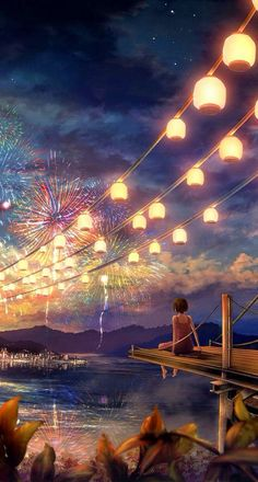 anime, art, beautiful, colorful, favorites, firework, iphone, lantern, magical, pretty, wallpaper, First Set on Favim.com