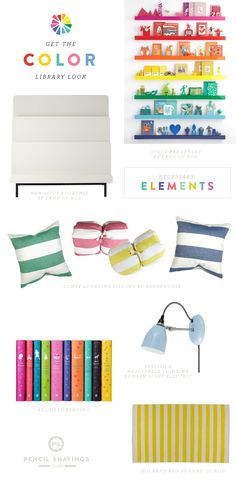 Get the look: necessary colorful elements for the library of color with the Land of Nod and @psstudio www.pencilshavingsstudio.com
