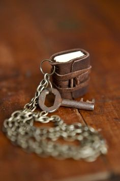 Mini Leather Journal Necklace with Antique Key - super cute!