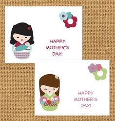 CRAFT Printables: Kokeshi Doll Mom's Day Card   MAKE: Craft