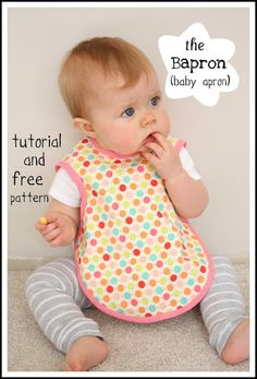 Bapron – Bib plus Apron {Free Pattern} ~ This little bib/apron gives maximum coverage for your messy eater and the tutorial instructions promise you can whip one up in half and hour!  Make a set and arrange in a cute box or basket with some baby food.