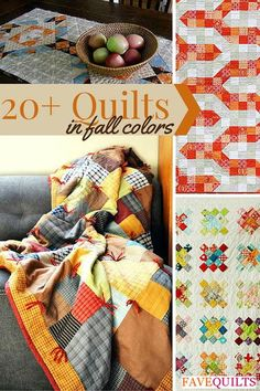 Quilts in Fall Colors -Get ready for autumn's crisp weather with 22 Quilts in Fall Colors. We know that you'll love these easy quilt patterns because they're so fun and festive. Find lots of Thanksgiving decorating ideas in this article as well as tutorials on how to sew a baby blanket. The autumn is a great time for beginners to learn how to sew a quilt because everyone needs a cozy quilt as soon as the cold weather hits.