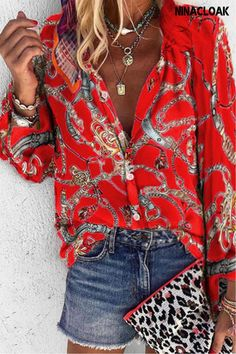 # S-5XL # Cotton Blend # Button down collar, shirt collar # Multicolor # summer / spring # Commuting / Leisure # printing # jobs / daily / Informal / Vacation / get together / festival / Leisure # Fashion Star, Womens Fashion, Daily Fashion, Fashion Online, Printed Blouse, Printed Shirts, Long Sleeve Tops, Long Sleeve Shirts, Boutique Fashion