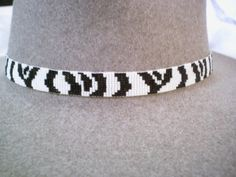 Zebra Stripe Beaded Hat band~Native American Style Beaded hat band