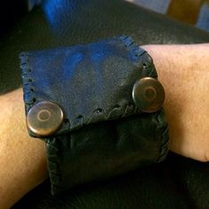 Boho Leather large cuff w/ hidden wallet Black leather boho burning man style large cuff bracelet. Cool Hidden zipper wallet on inner side for money & treasures. Fits Med/large size wrists. Jewelry
