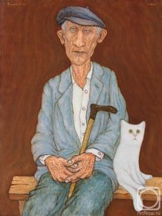 Painting of old guy with cat. Obvs.