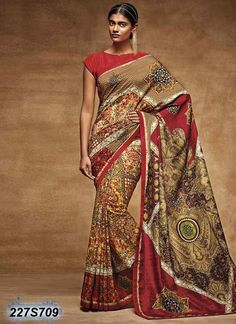 a4fabd0f8 Buy This Brown Tussar Silk Party Wear Printed Saree Online Shopping Party  Wear Silk Sarees Collection Party Wear Multi Colour Silk Printed Saree  Design
