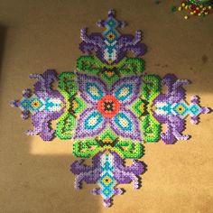 Big perler bead flower wall art