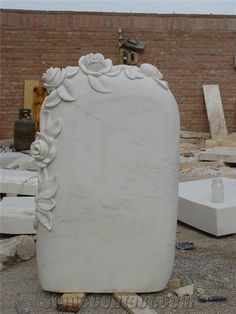 White Marble Hand Carved Flower Headstone