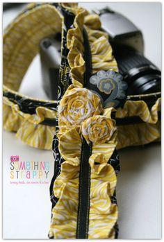 STRAP: Honey Bee Ruffled Camera Strap DLR SLR by Something Strappy
