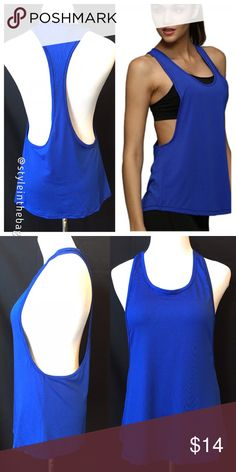 NEW S,M,L Racer Back Muscle Style Workout Top Blue Racer back athletic top in blue color. New in package. Stylish design for summer. 100% polyester, imported material. Bundle and save! boutique Tops Muscle Tees