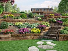 Use Outdoor Essentials railroad ties for decorative landscaping, retaining walls. - Use Outdoor Essentials railroad ties for decorative landscaping, retaining walls, edging and more. Sloped Backyard Landscaping, Backyard Retaining Walls, Terraced Landscaping, Landscaping On A Hill, Sloped Yard, Landscaping Ideas, Railroad Ties Landscaping, Terraced Backyard, Steep Hillside Landscaping