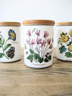 Portmeirion Botanical Gardens Set of Three Canisters. All my Portmeirion pieces feature pink flowers; my decorating scheme is pink, hunter green and white. Portmeirion China, Portmeirion Pottery, Porcelain Ceramics, China Porcelain, Sweet William Flowers, William Ellis, Pots, Garden Landscape Design, Jar Storage