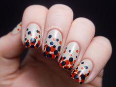 Gradient polka dots, from Chalkboard Nails.